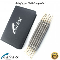 Composite Set 5 Pcs GOLD Dental Filling Instrument Probe Spatula Plugger CE NATRA Germany