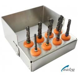 Dental Implant DRILLS KIT 8 Pcs Black Titanium Coated 3 Flute with FREE Bur Holder CE NATRA Germany