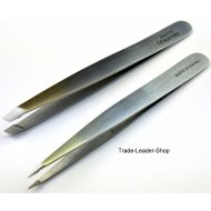 Tweezers set of 2 Hair Splinter Forceps Eyebrows Stainless Steel