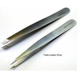 2x Set Tweezers Hair Splinter Forceps Eyebrows Stainless Steel NATRA Germany
