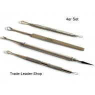 Set 4 Tools Face Care Extractor Comedores Black Points Ear NATRA Inox