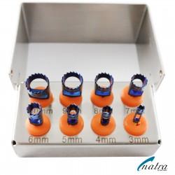 Dental Implant TREPHINE DRILLS KIT 8 Pcs Blue Plasma Coated with FREE Bur Holder CE NATRA Germany